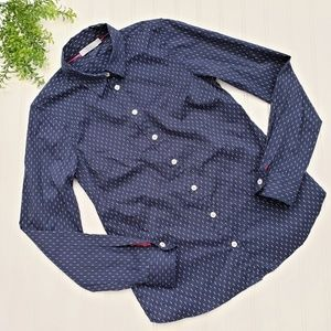 Dalia Navy Blue White Polka Dot Button Up sz Small